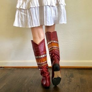 Vintage Shoes - Native Style Leather Boots Made in Brazil